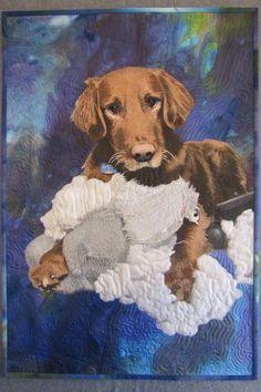 """Rusty's New Teddy Bear"", 16 x 23"", by Tonya Littman. This quilt won judge's choice (by John Flynn) at the 2012 Houston IQF"