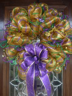 Get ready for Mardi Gras!  Deco mesh wreath