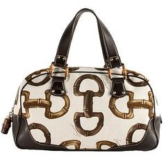 Gucci Horsebit Print Canvas Satchel Handbag