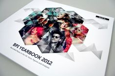 BPI yearbook cover // love the geometric theme with hexagonal images for a cover piece.