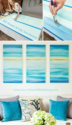 Give your home a soothing beach vibe with easy DIY ocean canvas art! Designer Tara Dennis shows you how to create a stunning ocean triptych in a step by step . Read moreCreate a Soothing Beach Vibe with Easy DIY Ocean Canvas Art Ocean Canvas, Ocean Art, Diy Wand, Beach Room, Beach Art, Ocean Beach, Diy Décoration, Easy Diy, Mur Diy