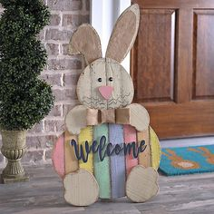 Wood Easter Bunny Welcome Sign | Kirklands