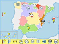 Me encanta escribir en español: Crear un mapa del tiempo en España.
