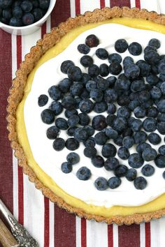 Lemon blueberry tart with almond crust. Amazingly gluten free (not that I care), so I can't wait to have my celiac friends over for some sweet dessert!