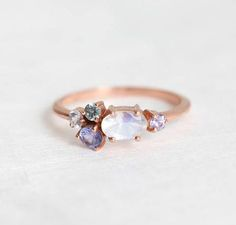 Moonstone Ring Moonstone Engagement Ring Mothers Ring Mom