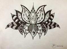 Lotusblüte Fineliner auf Papier