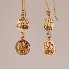 18k Gold and Tsavorite Garnet Earrings