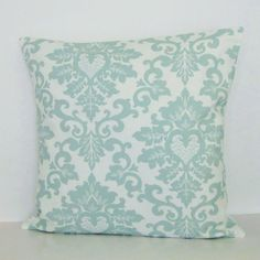 Seafoam Green Damask Pillow Cover Decorative by GigglesOfDelight