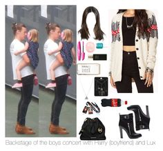"""""""Backstage of the boys concert with Harry and Lux"""" by myllenna-malik ❤ liked on Polyvore featuring River Island, Sergio Rossi, MICHAEL Michael Kors, Robert Piguet, Topshop, Essie, Forever 21, OneDirection and harrystyles"""