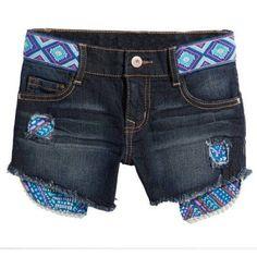 LEI Girls' Aztec Waistband Denim Shorts, Size: 7, Gray