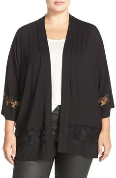 JUNAROSE Lace Trim Kimono Sleeve Cardigan (Plus Size)