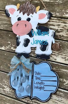 Your place to buy and sell all things handmade Hospital Door Hangers, Baby Door Hangers, Wooden Door Hangers, Cute Baby Cow, Baby Cows, Hand Painted Canvas, Hand Painted Signs, Birth Announcement Sign, Birth Announcements