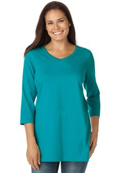 """The perfect plus size tee that will go with any bottoms is here. This 3/4 sleeve shirt can be dressed up or down and it always comfortable.  relaxed silhouette fits slightly oversized for a comfy, roomy fit 28"""" long falls perfectly below the hip V-neck is open and airy  3/4 sleeves are great for women who get too warm straight hem, double needle stitching  washable cotton knit; heather gray is cotton/polyester blend knit, imported  great with  jeans  don't forget comfortable  footwear ..."""