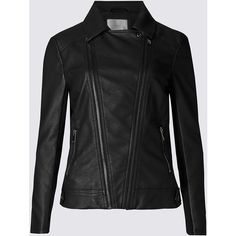 M&S Collection Faux Leather Biker Jacket (1 435 UAH) ❤ liked on Polyvore featuring outerwear, jackets, black, evening jackets, vegan moto jacket, faux leather motorcycle jacket, fake leather jacket and vegan leather jacket