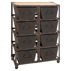 Bring a touch of industrial-inspired flair to your living room or den with this handsome storage chest, showcasing 8 bins and a convenient castered base.  ...