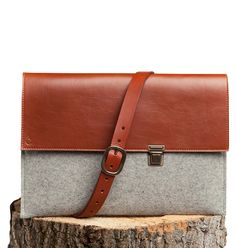 Joseph 13'' - MacBook Bag - Felt and Leather - CANTIN - Permanent Collection #fashion #montreal #handmade  #macbook