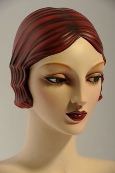 Vintage antique 1920's mannequin head for sale.  This head is available on any mannequin pose that Vaudeville Mannequins offers-$799.