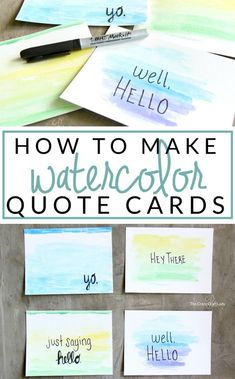 """Make your own watercolor cards with quotes - perfect for making custom holiday or birthday cards, or just to send a note """"because. Watercolor Postcard, Watercolor Quote, Watercolor Cards, Watercolor Projects, Watercolor Trees, Watercolor Portraits, Watercolor Landscape, Fancy Letters, Diy Letters"""