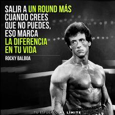 Salir un round más cuando crees que no puedes, eso marca la diferencia en tu vida. #Rocky #RockyBalboa #Stallion #Stallone #Box #Crossfit #Fit #Fitness #Life #Quotes #Frases #Campeones #Peliculas #SlyStallone
