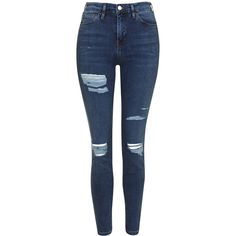 TopShop Moto Super Rip Jamie Jeans (530 SEK) ❤ liked on Polyvore featuring jeans, mid stone, denim skinny jeans, stretch jeans, ripped skinny jeans, stretch skinny jeans and high-waisted jeans