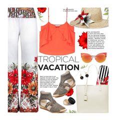 Vacation by beebeely-look on Polyvore featuring MANGO, Eugenia Kim, Fendi, NARS Cosmetics, floralprint, vacation, sammydress and tropicalprint