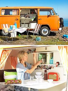 Love the idea of outfitting a retro camper with plenty of vintage housewares. And I'd definitely also need a pull-out awning adorned with Christmas lights, where we could sit in lawn chairs and drink cold beer under the stars. Cool Campers, Retro Campers, Happy Campers, Vintage Campers, Vintage Caravans, Vintage Travel Trailers, Wolkswagen Van, Vw Minibus, Westfalia Van