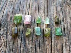 Raw Watermelon Tourmaline Crystals   Set of by MoonshineSupplies