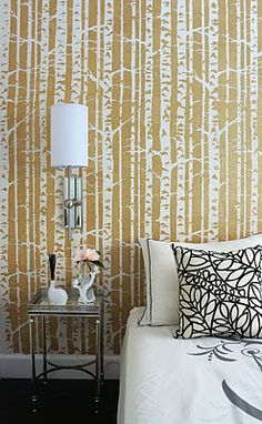 Birch tree wall stencil. I would do this only on the wall with the bed and do white on all the others.