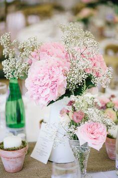 Pink Hydrangeas & Gypsophila Table Centres   Chiddingstone Castle Wedding   Lyn Ashworth Gown   Naomi Neoh Lace Jacket   Pink Colour Scheme   Parkershots Photography   http://www.rockmywedding.co.uk/lisa-nick/