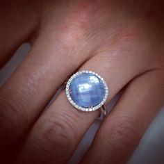 A beautiful picture of a beautiful ring! #haroldstevensjewelers #ring #blue #IvorySky #diamonds #beauty #glam #dovesjewelry