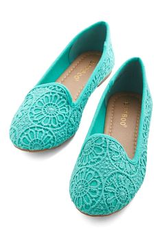Jump Bright In Flat - Flat, Woven, Blue, Solid, Crochet, Work, Casual, Good, Variation