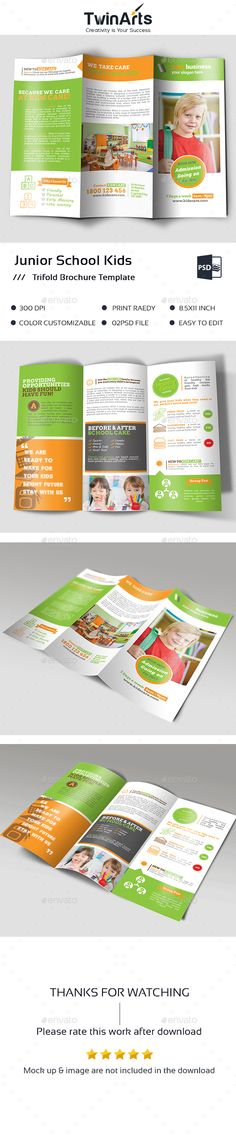 Kindergarten Tri Fold Brochure Design Template By Stocklayouts