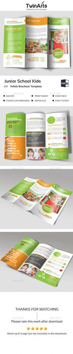 Junior School kids Trifold Brochure - #Brochures Print #Templates Download here: https://graphicriver.net/item/junior-school-kids-trifold-brochure/19345613?ref=alena994
