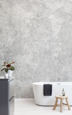 A grey wallpaper mural is key to creating a modern and clean space. Layering lighter and darker shades will create stylish complexity. It's a classic, neutral tone that allows you to be creative and daring with your interior, and it looks beautiful in a bathroom. A grey mural will let you experiment with your accessories, incorporating various colours such as blues, greens and many more, as it really allows them to stand out. Grey Wallpaper, Bathroom Wallpaper, Grey Concrete Wallpaper, Modern Spaces, New Room, Textured Walls, Bedroom Decor, Decor Room, House Design