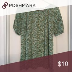 """Sheer & dressy summer top!🌱🍃🌱 Great quality top for work or after. 3"""" pinhole opening in front & back of neckline. Slight gathering at the top of sleeves. You will probably want to wear with a cami. Awesome olive green & aqua pattern. You'll love it!🦋🦋 Cabi Tops Blouses"""