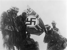 2.WW, Balkans campaign 'Operation Marita' from 06.April 1941 on. (Greece -29.April) / Theatre of war. German mountain troops assault detachment at the peak of mount olympus. Hoisting of the Third Reich 'battle flag' .16.April 1941 - pin by Paolo Marzioli