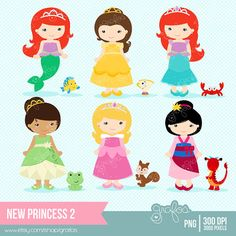 NEW PRINCESS 2 Digital Clipart Imagenes Princesas por grafos