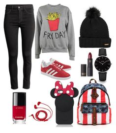 """""""Untitled #10"""" by s-alameryh ❤ liked on Polyvore featuring H&M, Adolescent Clothing, adidas Originals, Kate Spade, Burberry, FOSSIL, CLUSE, Lipstick Queen and Chanel"""