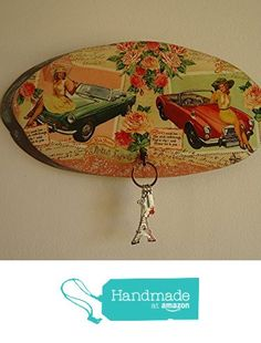 Entryway Storage for keys, Key Hooks, Vintage Style Panel, Retro Ladies and Retro Cars, Pine wood, Decoupage, Ellipse, Wooden Panel, Entryway Organizer from VPFinishDesign https://www.amazon.com/dp/B01LK4X50Q/ref=hnd_sw_r_pi_dp_8Yojyb6H3M5AS #handmadeatamazon
