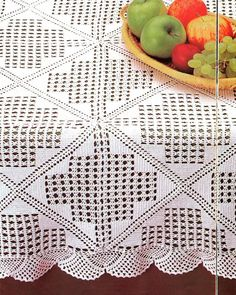 Vintage Crochet Tablecloth or Throw With Medieval Cross Pattern, Milk White Cotton Yarn Filet Crochet, Crochet Buttons, Crochet Doily Patterns, Crochet Diagram, Crochet Squares, Thread Crochet, Crochet Doilies, Crochet Home, Diy Crochet