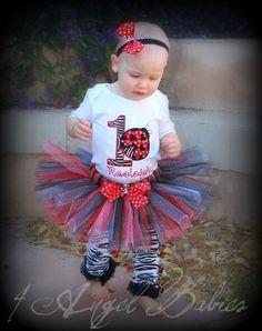 3 Piece Lady Bug Red Girls First Birthday LADYBUG Glitter Tutu Outfit $52.50