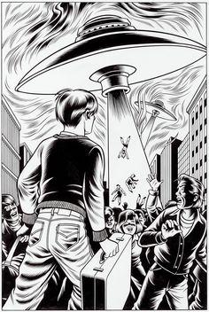 A Slice of Fried Gold - Charles Burns - comics - illustration - art - aliens - UFO! Arte Alien, Alien Art, Comic Books Art, Comic Art, Book Art, Illustrations, Illustration Art, Ligne Claire, Aliens And Ufos
