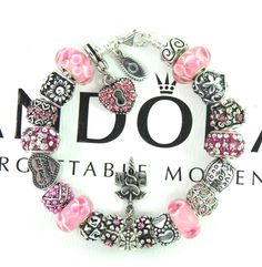 Authentic pandora silver charm bracelet with charms pink RN nursing special gift #Pandoralobsterclaspclaw #European