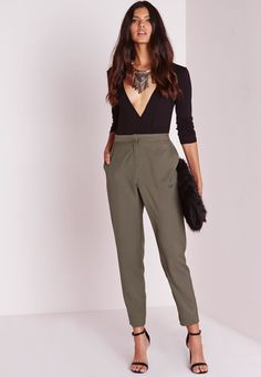 Missguided - Crepe Cigarette Trousers Khaki