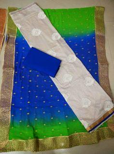 Pure silk Top with embroidery pure chiffon dupatta with jari work cotton bottom|Buy salwars At online | Elegant Fashion Wear Price:1450 #elegantfashionwear #chiffon #salwar