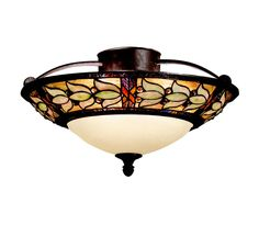 Kichler 69045 Art Glass 3-Light Semi-Flush in Tannery Bronze in Ceiling Lights, Semi-Flush Mounts: ProgressiveLighting.com