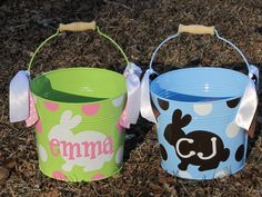 Personalized 5 qt Metal Easter Bucket / by DearDoodlezDesigns, $20.00