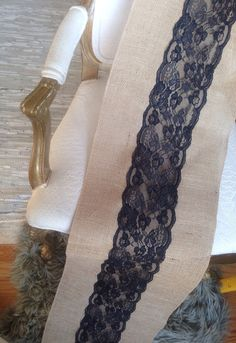 French Black Lace Scalloped Burlap Table Runners