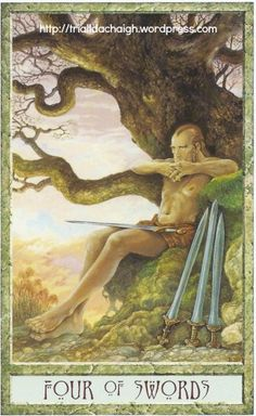 The Four of Swords is a passive card. Have a think about it. What does it mean?