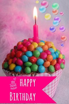 Happy Birthday #happybirthday cup cake candle colorful candy sweet